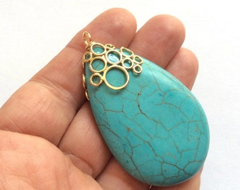 1pc- Matte Gold plated with tear drop turquoise pendant-65x40 mm-(026-040GP)