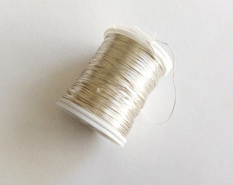 28 gauge (.32mm) Silver color Brass Beading Wire, 50mt Spool Tiara Making-(002-041GP)