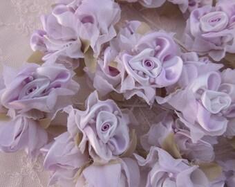 18pc Chic LILAC Satin Organza Ribbon Wired Rose Peony Flower Reborn Doll Bridal Wedding Bow Hair Accessory Applique