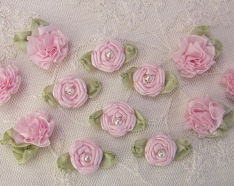 12 pc Set HANDMADE Vintage Like Pink Ribbon Rosette Spider Rose Flower w Pearl Applique Antique Doll Dog Baby Hair Bow
