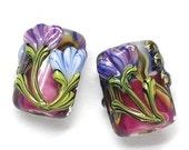ON SALE 50% OFF Glass Lampwork Bead Set - Six Grace's Garden Mini Kalera Beads 10108303
