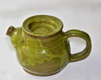 Ceramic  Teapot Holds Two Cups One of a Kind Glossy Lime Green Glaze Brown Stoneware Body