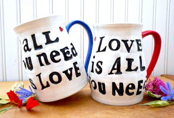 ALL You Need Is Love 2 Coffee Mugs Set - HandMade Letterpress Stamped Beatles Quote Tea Cups Pair - Couples 8th 9th Wedding Anniversary Gift