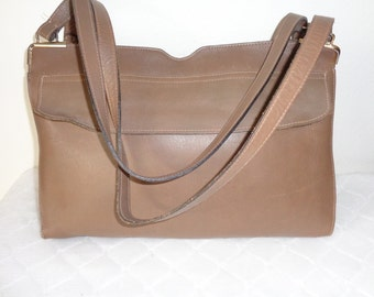 Ronay thick buttery leather  top zip satchel, pocketbook purse , dual strap purse French beige vintage  60 s extremely  rare MINT condition