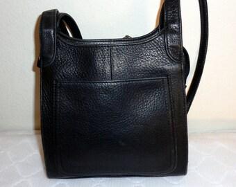 Fossil butter soft black genuine naked leather dual strap  tiny satchel bag  tote vintage mid 80s messenger bag pristine condition