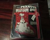 Vintage Needlepoint Kit Peanuts Snoopy Snowman Malina 8500/002 Needle Point Kit