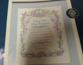 Counted Cross Stitch Kit From This Day Forward Sunset 13554 Wedding Record Complete and Ready to Stitch