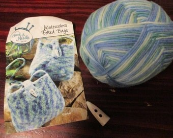 Wool Yarn Kit Annie's Hook and Needle Club Watercolors Felted Bag Crochet or Knit includes Toggle