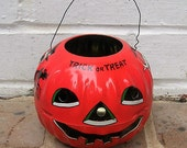 Vintage Metal Pumpkin Vintage Metal Halloween Pumpkin US Metal Toy MFG Co 50's
