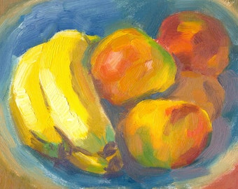 fruit oil painting on canvas small still life Mellow Fruit in Bowl with Blue