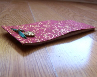25 page notepad - red - gold glitter -  amour