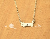 Kitty with name stamped-Necklace Chain-Personalized Pet -Sterling Silver-Animal Cat Pendant