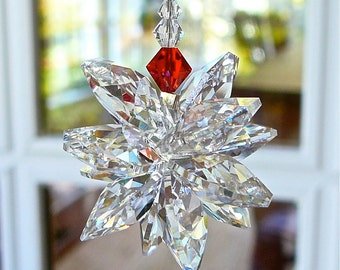 """Car Charm Crystal Cluster Car Ornament for Rear View Mirror or Home, All Swarovski Crystal, Comes in 2 Lengths - """"STELLA With a HINT of RED"""""""