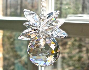 "Crystal Pineapple Rainbow Maker - Swarovski Crystal Suncatcher for Car Rear View Mirror, Car Decor, Car Accessory -""BELLA CLEAR"" Two Lengths"