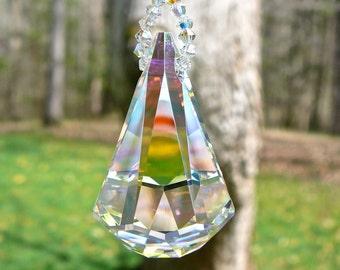 Crystal RAINDROP, Swarovski Crystal Suncatcher, Rainbow Maker for Rear View Mirror, Crystal Car Charm, Window Decoration, Suncatcher for Car