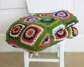 Vintage Granny Square Blanket Afghan Crochet Knit Throw Green Colorful Retro Twin Bedding