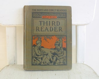 Vintage Child Book, Vintage Reader, School Book, School Reader, Orange Book, Twenties Child Book