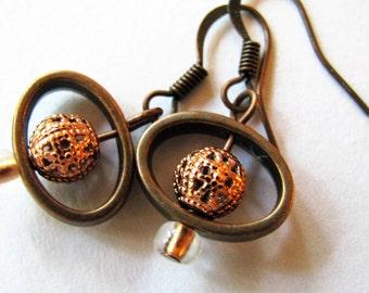 Copper Earrings, Antique Copper Earrings, Bright Copper Filigree and Antique Copper Earrings