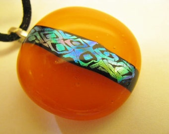 Orange Glass Pendant, Fused Glass Pendant , Dichroic Pendant, Tangerine and Silver Pendant Necklace