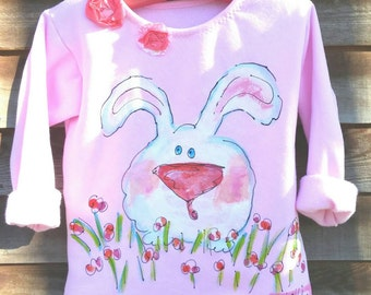 White Bunny Girls Size Painted Easter Rustic Sweatshirt  Made to Order YelliKelli