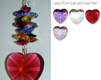 Large 40mm Red, Violet, Purple, Clear Heart Suncatcher for Car or Home, Window Crystal, Home Decor, Feng Shui, Rainbows, Swarovski Crystal