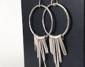 Sterling Silver Boho Fringe Earrings - Boho Chic - Boho Style - Silver Hoop Earrings with Fringe