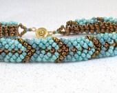 teal friendship bracelet beaded teal bead bracelet teal beadwork