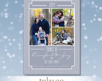 Nordic Sweater Pattern - Holiday Photo Card - PRINTABLE