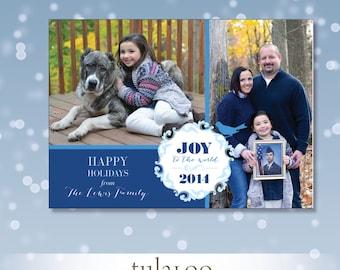 Wreath Joy Bluebird - Holiday Photo Card - PRINTABLE