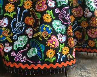 Day of the Dead Tablecloth Mexican Sugar Skulls Black Orange Neon Bead Fringe