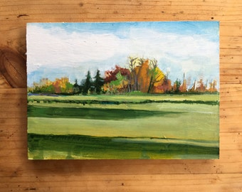 Fall Landscape, Original acrylic painting on linen canvas panel
