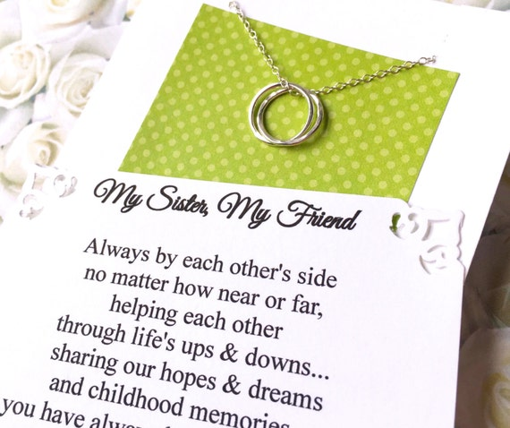 2 SISTER NECKLACES with POEM - Inseparable Rings Sterling Silver Jewelry for Sisters Matching Necklaces GiFT  PACKaGED