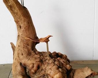 Vintage Manzanita Root Burl Wood Sculpture with Pine Cone Seed Birds