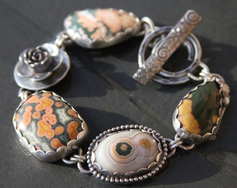 SALE oOo ocean jasper and sterling silver metalwork link bracelet