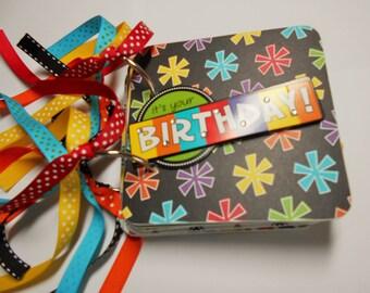 Birthday Mini Album, Birthday Scrapbook, Birthday Brag Book, Birthday Photo Album, Chipboard Album, Premade Album, Birthday Album, Birthday