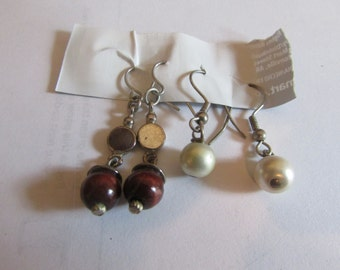 wood pearl dangles