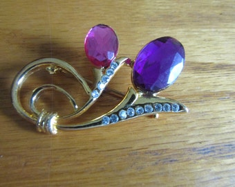 bright purple and pink flower brooch