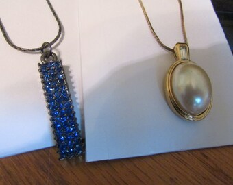 pearl with blue pendent
