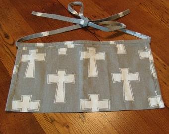 Vendor's Apron. Cash Apron. Event Apron. Gray Canvas with White Crosses.