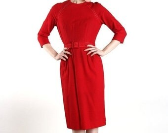 ON SALE Red Felt Wiggle Dress & Belt . 1960s.  Business Casual