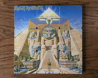 IRON MAIDEN 9 wood based coasters & record bowl using recycled Powerslave album cover | gift set