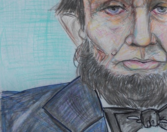 President Abraham Lincoln Portrait Original Drawing Folk Art Figure Election 2016