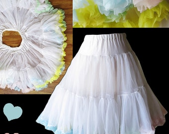 Vintage Crinoline Petticoat M L White Nylon 50s style Full Skirt Swing Rockabilly PASTEL Pink Blue Yellow Green Ruffle Circle Square Dance