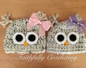 Custom order for Andrea...Newborn twin hats.. girl twin hats.. Photography prop.. Ready to ship