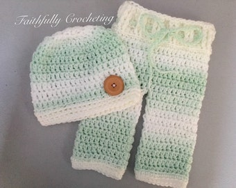 Newborn beanie...matching pants set.. Photography prop.. Ready to ship