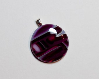 Purple/Pink striped fused glass pendant - 252