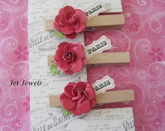 3 Wood Clothes Pins, Paris Theme Party, Paris Decor, French Decor, French Country, Shabby Chic, Pink Paper Roses, Home Office, Clothespins