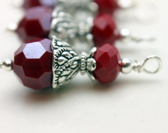 Red Multifaceted Round and Medium Rondelle Crystal Bead Earring Dangle Necklace Charm Drop Set