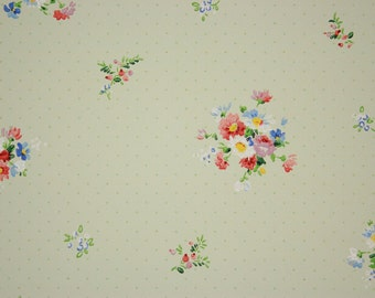 1920's Vintage Wallpaper Red White Blue Bouquets on Green--Made in Belgium