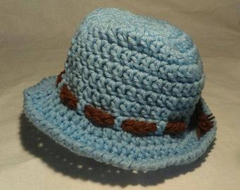 Crocheted Toddler Blue Sunhat size 3-6  Months